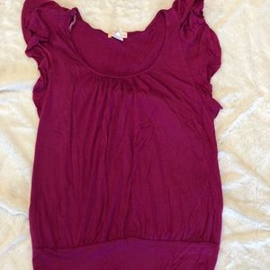 Tops - Cranberry colored shirt sleeve top